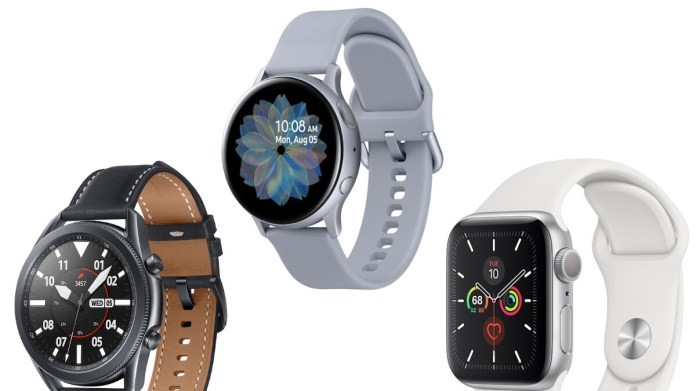 Samsung Galaxy Watch 3 Vs Galaxy Watch Active 2 Vs Apple Watch Series 5 Design Specs And Features Comparison Phonearena