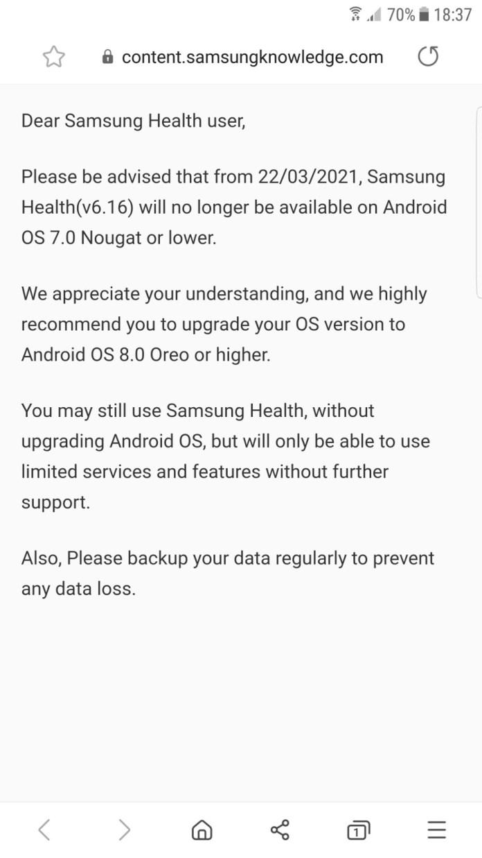 The Samsung Health app no longer supports older Galaxy smartphones
