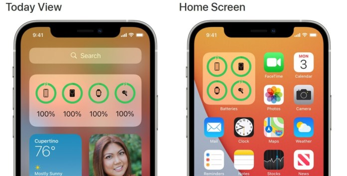Different views of the iOS Battery Widget from the Today view (L) and the start screen (R) - MagSafe Battery Pack unlocks a limited version of the rumored function for the 5G iPhone 12 series