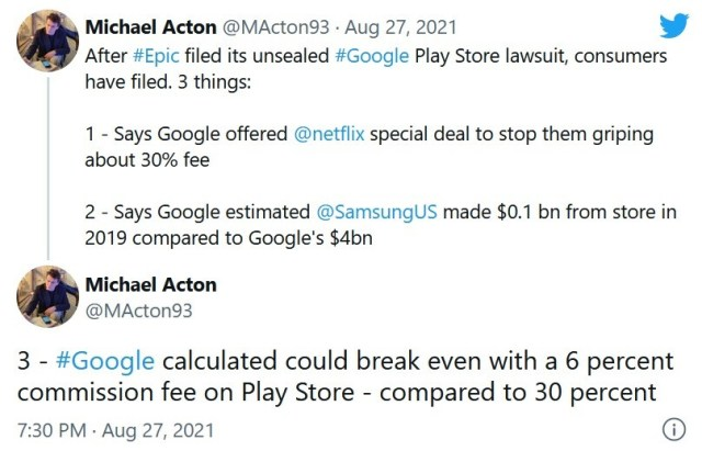 MLex's Michael Acton says Google breaks even taking only 6% of in-app payments - Google needs to copy Apple to extricate itself from its Play Store mess