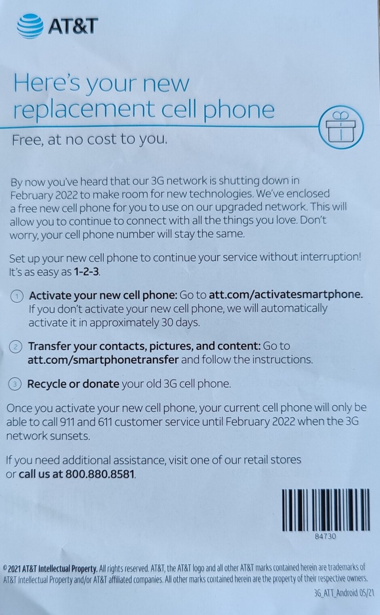AT&T starts sending Samsung smartphones to customers affected by its 3G shutdown
