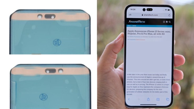 Leaked iPhone 14 Pro/iPhone 14 Pro Max display from ShrimpApplePro on Twitter (back and front view) on your left, and a render by Filip Vabroušek (Twitter) - California leaking: Shocking iPhone 14 leak, but will it stop you buying iPhone 13?