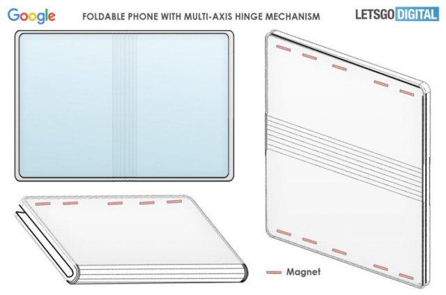 Image from Google's newly awarded patent for a foldable smartphone hinge - Pixel Fold renders surface (VIDEO); Google gets patent for the foldable's hinge