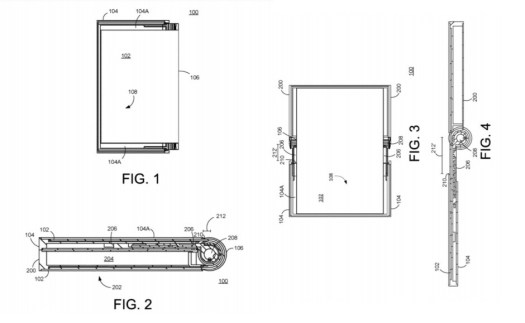 Different angles of a foldable Google Pixel phone (patent images)