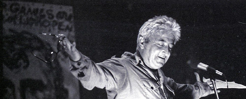 Jack Micheline at the Jack Kerouac Conference in Boulder, Colorado, 1980's   Photo by Mark Christal