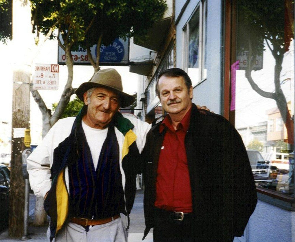 Jack Micheline & A.D. Winans | photo was taken by Linda Learner some time in the nineties.