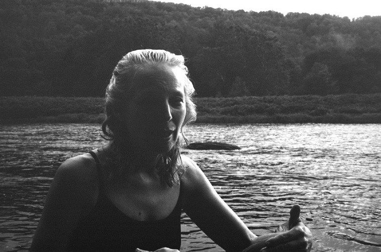 Kazzrie Jaxen and her beloved Delaware River, Callicoon, New York, August 7, 2o11 | Photo by Mark Weber