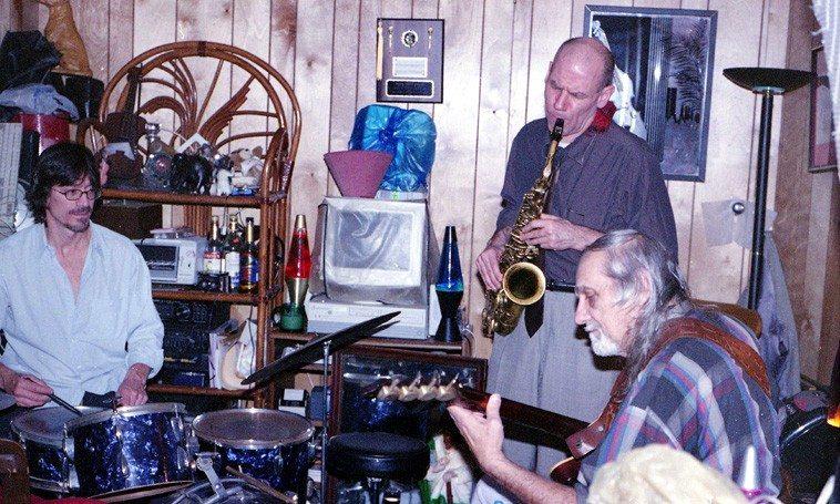 Session at Sonny's basement studio, Shirley, New York, December 2, 2004 | John McCutcheon, drums; Richard Tabnik, alto; Sonny Dallas, bass | Photo by Mark Weber