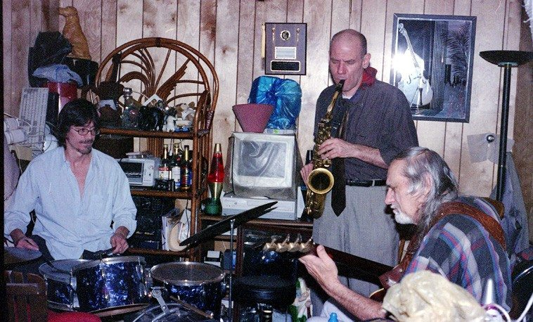 Session at Sonny's basement studio, Shirley, New York, December 2, 2004 | John McCutcheon, drums; Richard Tabnik, alto; Sonny Dallas, bass | Photo by Mark Weber