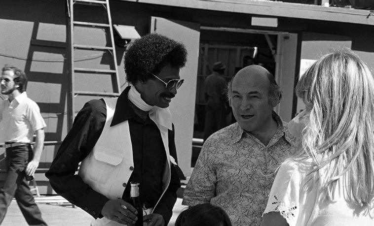 Dannie Richmond & George Wein backstage Hollywood Bowl -- June 20, 1981 -- Playboy Jazz Festival -- photo by Mark Weber