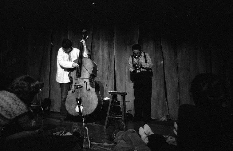 """Charlie Haden & Bobby Bradford presented an entire concert of duets: February 17, 1980 at Century City Playhouse, Los Angeles ------ photo by Mark Weber ------ they played BB's tunes: """"Comin' On,"""" """"Woman,"""" """"Snuffy,"""" and Charlie's """"Song for Che,"""" Bird's """"Confirmation"""" and reprised """"Law Years"""" that they both made with Ornette, released on SCIENCE FICTION album ----- R.I.P. Charlie Haden (August 6, 1937 - July 11, 2o14) ------ Bobby celebrates his 80th this weekend (b. July 19, 1934), we're hoping he'll join us on the telephone for next Thursday's radio show . . . . ."""