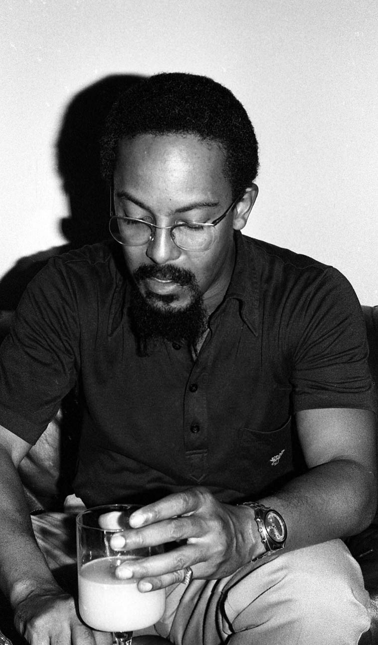 "Lester Bowie(1941-1999) ---- October 20, 1979 -- UCLA -- photo by Mark Weber -- Lester always claimed to be influenced by Blue Mitchell ---- Have you ever heard his rendition of ""Hello Dolly""? It's a remarkable piece, but it doesn't stand alone, it requires that you know Louis' version to fully appreciate it's abstraction and total adoration of Mr Strong (Mr Louis Armstrong)"