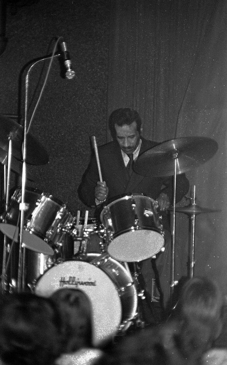 "Max Roach during his solo concert piece ""South Africa '76"" --- January 8, 1977 -- photo by Mark Weber ---- I remember this solo being something like ten-minutes long and something you never forget"