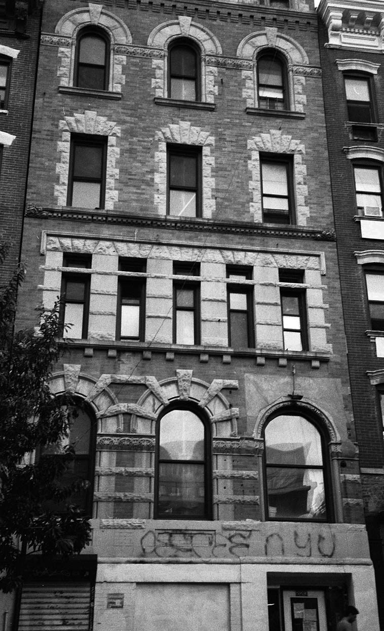 By chance, Peter Ind's recording studio-loft (1960) is only a half block away from The Stone ----  The Stone is on 2nd Street at Avenue C on the Lower East Side --------  the studio where Peter Ind  recorded many sessions with Lee Konitz; Sheila Jordan's first recording session; and Warne Marsh's  immortal albums RELEASE RECORD, SEND TAPE and MORE JAZZ FROM THE EAST VILLAGE is top floor of 223 E. 2nd Street between Avenues B and C, directly across the street from FDNY Engine Company 28 --- photo by Mark Weber -- August 19, 2o14