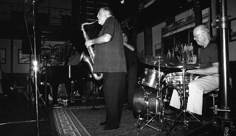 The Kazzrie Jaxen Quartet ---- Howland Art Center ---- August 24, 2o14 ------ Don Messina, bass; Bill Chattin, drums; Kazzrie Jaxen, piano; Charley Krachy, tenor saxophone (shoeless, for that extra Prez effect) -- photo by Mark Weber