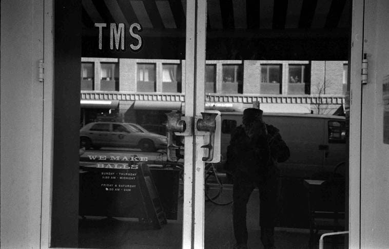 11:45am Self portrait with meat grinder door handles -- TMS The Meatball Shop, 299 Ninth Avenue  (between 22nd & 23rd) -- it was very cold -- November 14, 2o14 -- photo by Mark Weber with Fujica ST-701  with 50mm lens & Tri-X 35mm