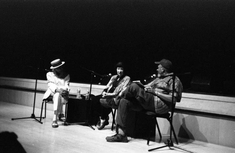 Jon Hendricks, Sheila Jordan, A.B. Spellman afternoon talk at Lensic Theatre, Santa Fe --  July 28, 2o12 -- photo by Mark Weber