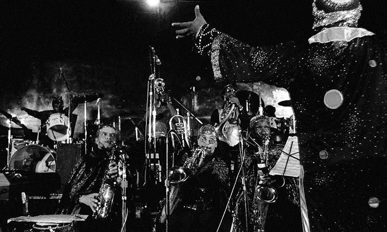 Sun Ra Omniverse Arkestra -- April 2, 1981 -- Myron's Grand Ballroom, downtown Los Angeles -- photo  by Mark Weber