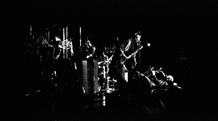 Arkestra in excelsis:  Is that Eloe Omoe, bass clarinet with Danny Thompson, baritone on his back?  -- April 2, 1981 -- photo by Mark Weber