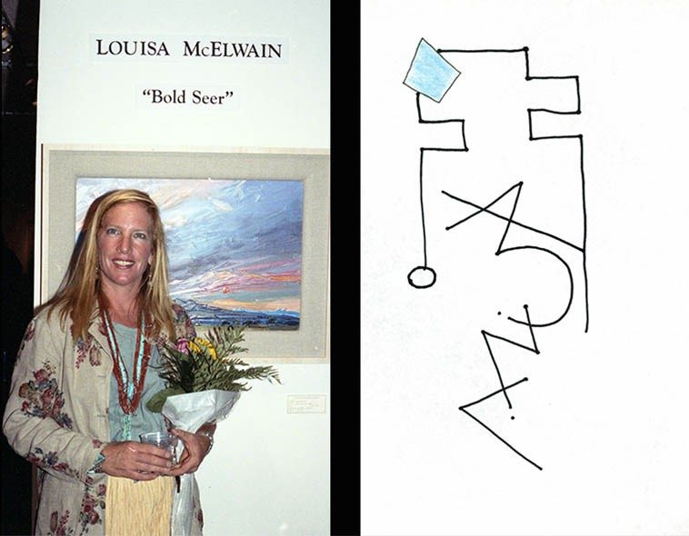 "Shakes you down to the core when a fellow human being takes their own life ---- We have framed  prints of Louisa McElwain's paintings all over the house -- She was born the same year  as me (1953) and you always feel a connection to somewhat who's traveled the same distance --  photo by Mark Weber -- Santa Fe -- July 12, 1996 Santa Fe -- what a great painter of New Mexico  landscapes ------ line drawing by Mark Weber ""Louisa McElwain""     [poem]     Life catches up with us  the entire planet enveloped in life  a spirit, a force, continuance  we each carry life along in the stream  as it flows on through us and around us ----  mourning doves this morning in Taos  when I found out  (7june15)"