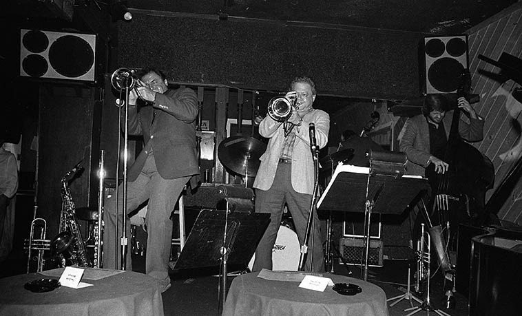 Ira Sullivan - Red Rodney Quintet at Carmelo's, North Hollywood, California ---- March 17, 1982 -- photo by Mark Weber ----  Ira had everything with him that night: soprano & alto saxophones, trumpet, flugelhorn, flute  and Red had flugelhorn & trumpet