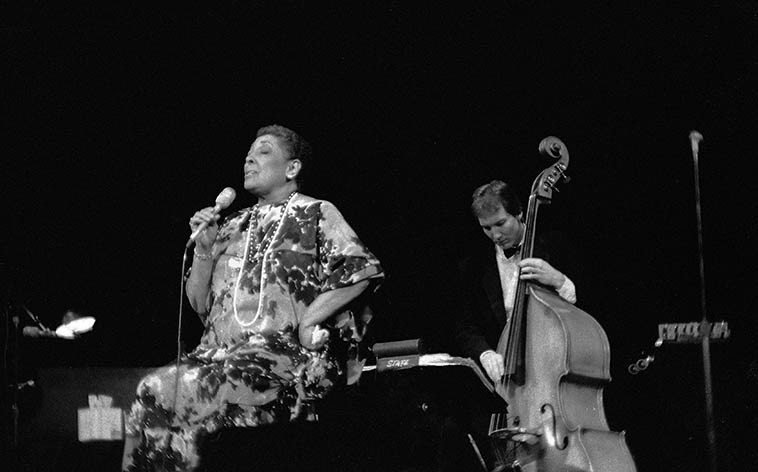 Carmen McRae -- Cleveland, Ohio -- April 10, 1987 at Tri-C Jazz Festival at the State Theater -- photo by Mark Weber (if anybody knows who the bass player is, please drop me a line)