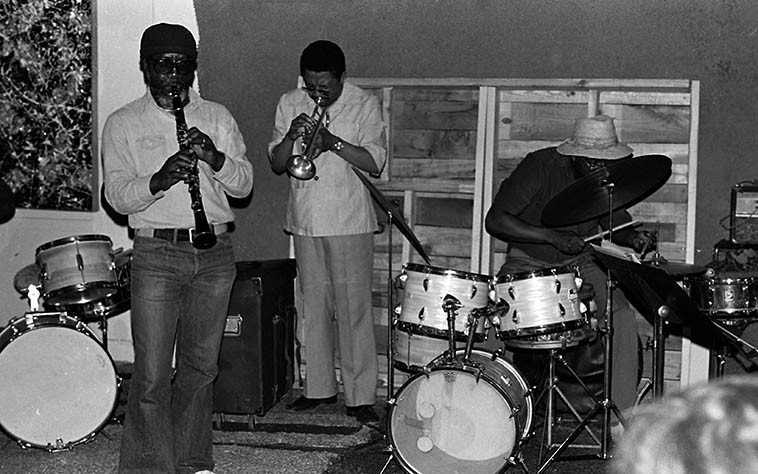 John Carter, clarinet; Bobby Bradford, cornet; Stanley Crouch, drums ---- Sunday afternoon session  at The Little Big Horn, Pasadena ---- April 24, 1977 -- photo by Mark Weber ---- I've been working with  Bobby on the idea of a 2-cd set compilation of recordings from the workshop setting of The Little Big  Horn during these years, we have some great stuff in the vaults . . . .
