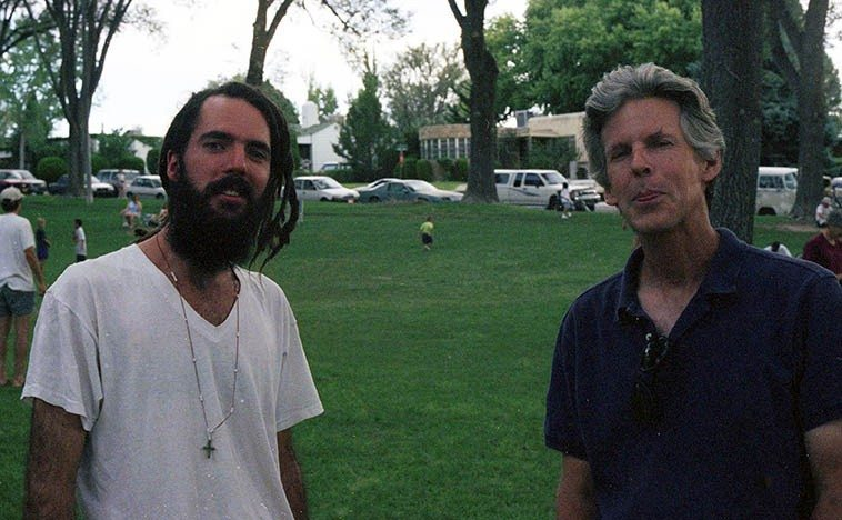 Two musicians, both disk jockeys at KUNM: Mark LeClaire and Jon Baldwin -- September 14, 1997 Albuquerque -- photo by Mark Weber