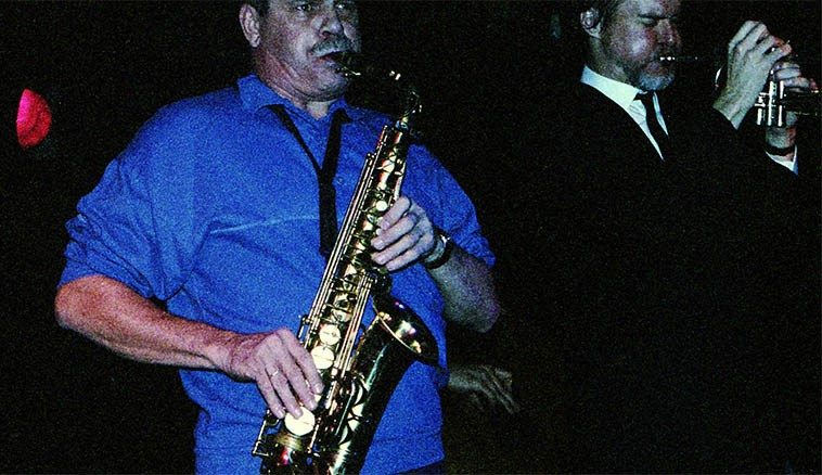 Phil Woods & Tom Harrell -- October 5, 1988 -- Peabody's Down Under, Cleveland Flats, Ohio -- photo by Mark Weber ------------ this long-standing group played on-stage sans sheet music, sans sound reinforcement, and knew their music on an internal level