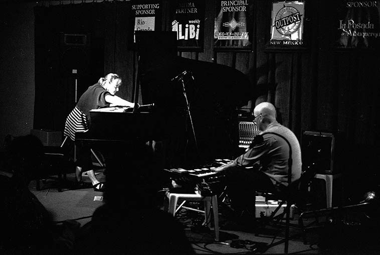 Myra Melford & J.A. Deane in action at Outpost Performance Space (old location) -- October 20, 1995 -- photo by Mark Weber