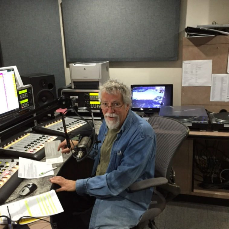 MW in Studio C alternate control room (the main control room being outfitted with new gear) KUNM -- November 19, 2o15 getting ready to interview Kevin Norton over the telephone ----- smart phone photo by John Breckow