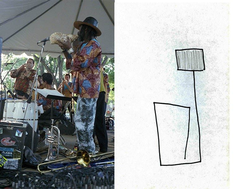 Steve Turre Santified Shells -- Bataan Park, Albuquerque -- September 10, 1995 ---- photo & line drawing by Mark Weber -- the musician in the foreground is trombonist Frank Lacy -- the music maestro Turre has created for his conch shell orchestra is deja vu other-worldly, something remember'd from inside our cells . . . .