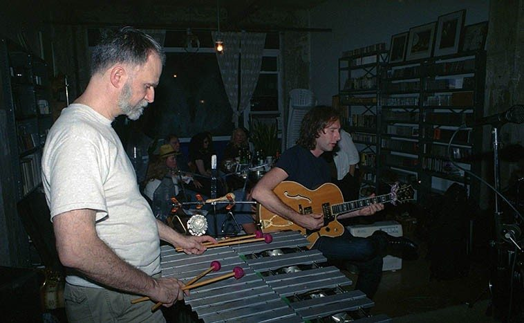 Kevin Norton and Adam Caine -- jam session at Connie's loft in Williamsburg -- September 10, 2o13 -- photo by Mark Weber