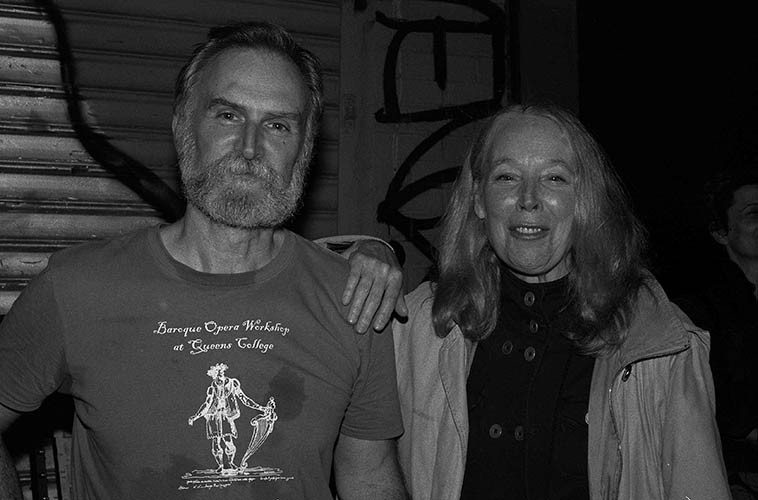 Kevin Norton & Kazzrie Jaxen outside The Stone on Lower East Side -- August 22, 2o14 -- Kazzrie had drove down from Callicoon to hear the Connie's quartet that includes Kevin -- photo by Mark Weber