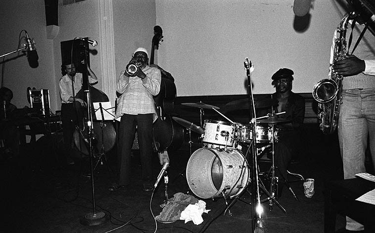 This band really hit hard, coming out of Oakland, I wish there were recordings available, they knocked me out: Robert Porter Quintet -- February 14, 1981at The New College, San Francisco -- Paul Stephen, sax; Smiley Winters, drums; Nantambu Mwanga & Bill Douglas, basses; Robert Porter, trumpet -- photo by Mark Weber ------- I remember catching a plane the next day back to Southern California hearing the news that Michael Bloomfield was found dead in his car on the backside of the Haight