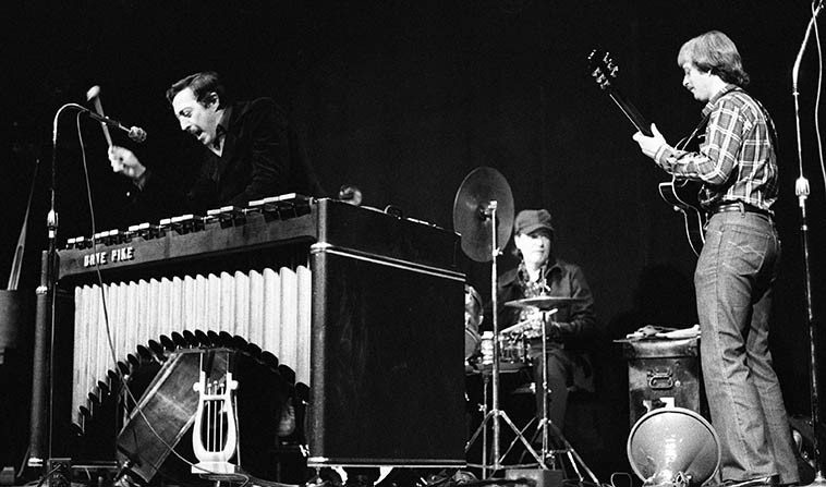 "When I was coming on the set, Dave Pike was all over Los Angeles (jazz) radio, in fact, this shot comes from a live KKGO broadcast from Kinsey Auditorium, Exposition Park, Museum of Science & Industry -- January 11, 1981 -- Ron Eschete, guitar; Luther Hughes, bass; Ted Hawke, drums; Tom Ranier, piano & alto saxophone; Dave Pike, vibraphone -- photo by Mark Weber -- (""coming on the set"" is an idiom I learned from Horace Tapscott who used it often to refer to a person's entry into the jazz world of Los Angeles, or, as Horace pronounced it: Los Angle-eez)"