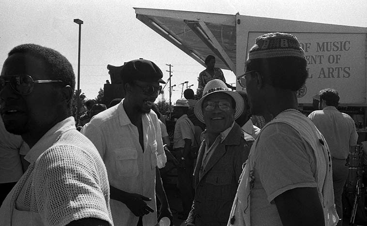 Horace Tapscott (laughing) and William Green (straw hat) -- July 5, 1980 Watts Towers Jazz Festival -- William Green was a legendary Los Angeles woodwinds master that everybody wanted to study with, he made a lot of valuable contributions to Buddy Collette's records, we'll listen to one of the few records he made under his own name ---- photo by Mark Weber