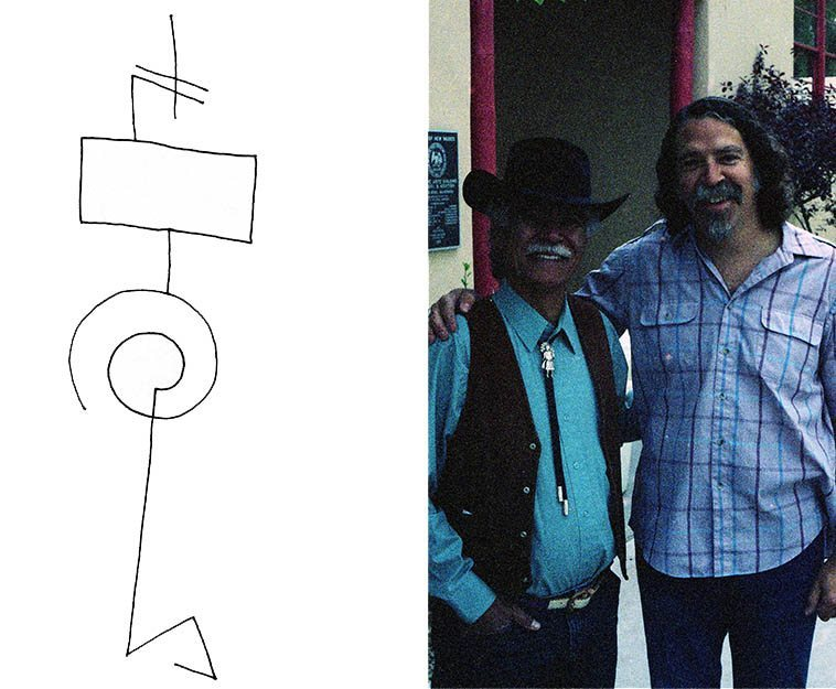 Wow, I didn't know this photo existed, that's me with Rudolfo Anaya who is responsible for a masterpiece for the ages BLESS ME ULTIMA, a novel that the moon must have co-authored -- photo by Janet -- May 6, 1995
