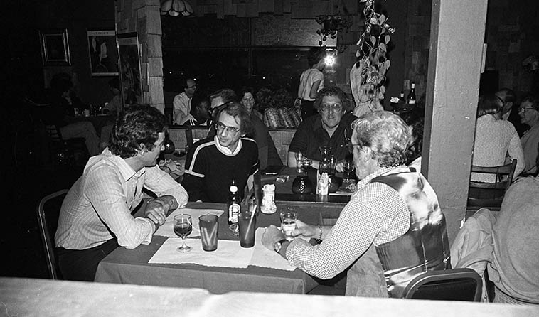 At the table next to mine: Al Cecchi, Dave Frishberg, Bob Hardaway, Wolfgang Melz ---- April 18, 1980 -- photo by Mark Weber ---- Bob Hardaway had such a beautiful Lestorian tone on tenor sax, straight out of the West Coast cool easy sound . . . . . . I sure wish he would have made more records, he spent most of his career in the show band of Ray Anthony and made only one album under his own name, of which we'll be spinning today. He was also in the section of Woody Herman's band in 1956 (Third Herd), and married to Pinky Winters.