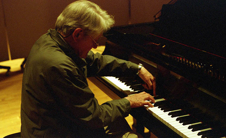 The composer Gordon Mumma was visiting New Mexico in residency at UNM and I talked him into reading the KUNM translator I.D. that I play at the top of the hour, and we also recorded one of his little piano ditties to go with it ---- what a great guy! photo by Mark Weber -- April 1, 2008