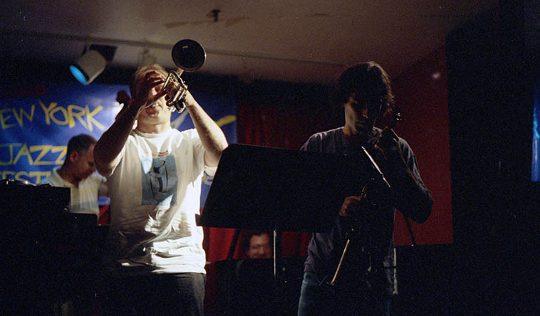 Dave Douglas (trumpet) and Dave Binney (sax) and Mark Helias (bass) sidemen with Uri Caine Plays The Music of Gustav Mahler at Knitting Factory, NYC -- June 29, 1997 -- photo by Mark Weber