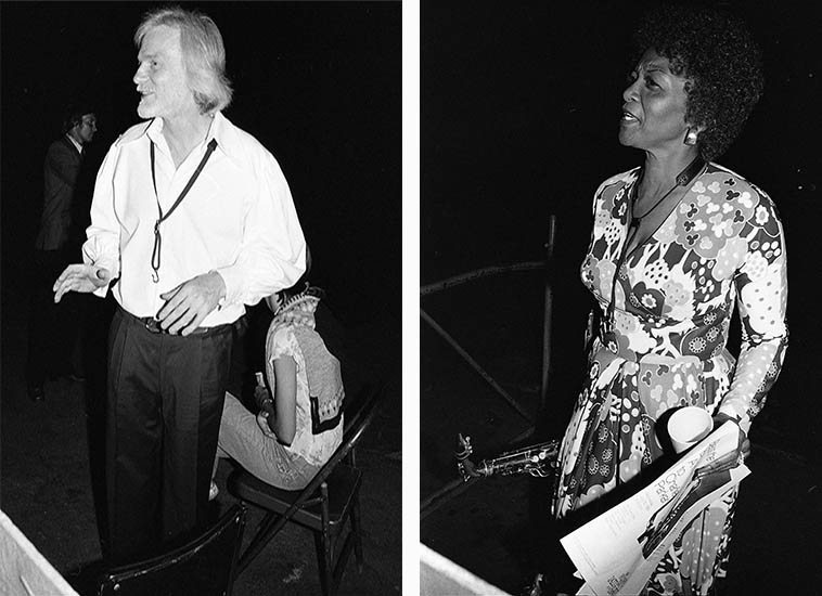 "Gerry Mulligan and Vi Redd ---- backstage at Hollywood Bowl -- July 30, 1980 at an evening called Bless the Bird: A Tribute to Charlie Parker ---- photos by Mark Weber ---- some guy walking by had good-naturedly hollared ""Hey, Gerry, where's Chet?"" alluding to the 1953 days at The Haig and we all had a laugh ---- For years I tried to corral Vi Redd into a sit-down interview but she always sidestepped me, we always had pleasant conversations, maybe she thought I was going to ask the same old tired questions about Eric Dolphy, and maybe I was, I know more about her now than I did then, thanks to re-issues of her records ---- Today we'll dig into the album she made with Marian McPartland and the guitarist Mary Osborne."
