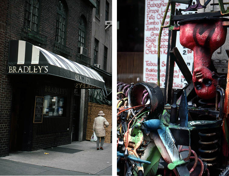 Bradley's jazz room, 70 University Place, Greenwich Village, NYC (you can see Ricky Ford, Michael Weiss, Peter Washington listed on the chalkboard marquee) and street art in the Village -- December 1988 -- photos by Mark Weber