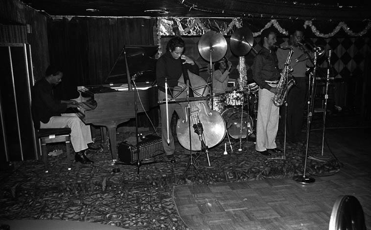 Horace Tapscott Quintet: Roberto Miranda (bass); Son Ship (drums); Dadesi Arthur Wells (tenor); George Bohanon (trombone); Horace Tapscott (piano) at Marla's Memory Lane, Los Angeles -- January 2, 1982 -- photo by Mark Weber