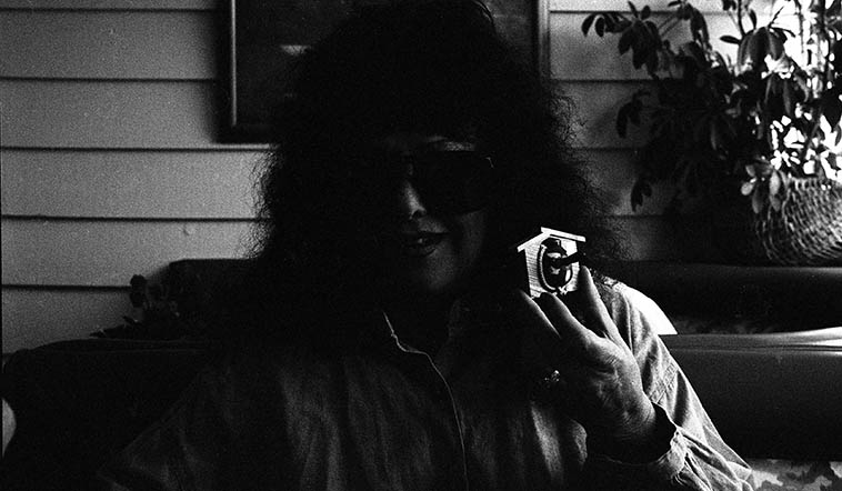 Joan Jobe Smith, the poet, publisher, pie maker, and my friend -- April 18, 1995 -- photo by Mark Weber in Long Beach, California -- Joan always has her shades on -- Everywhere -- She has a sensitivity to sunlight -- I think she even wears them to bed