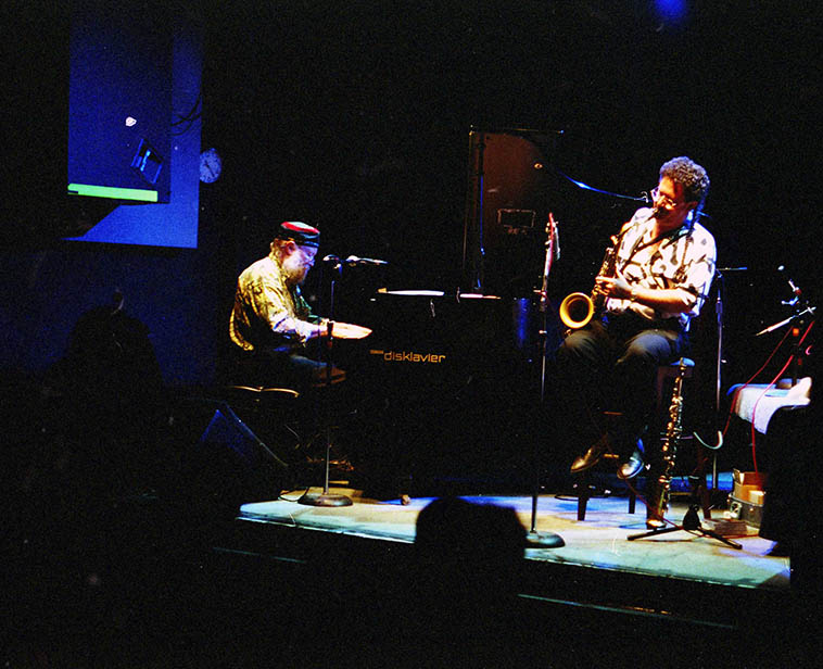 Terry Riley and George Brooks at Knitting Factory -- August 9, 1998 -- photo by Mark Weber -- George will be bringing a band into the Outpost this night here in Albuquerque