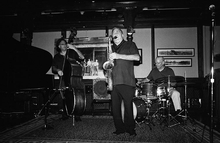 """Kazzrie Jaxen Quartet upstate NY ---- August 24, 2o14 -- photo by Mark Weber -- Bill Chattin (drums), Charley Krachy (tenor), Don Messina (bass) it's Don's birthday this day (b. April 21, 1955 which is same as my mom's and my """"half-birthday"""") We'll play some of the recordings Don has put his pulse and spirit upon . . . ."""