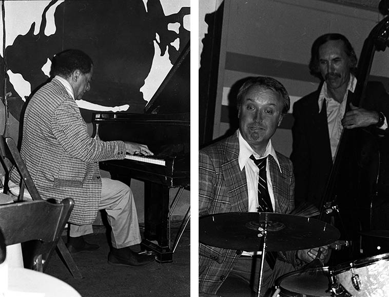 Teddy Wilson in trio with Jake Hanna and Monty Budwig at Donte's -- March 16, 1977 -- photos by Mark Weber ---- When is there going to be a comprehensive re-issue of the Teddy Wilson Orchestra sides circa 1935-1945? These are the tight swinging high-stepping sterling little 7- or 8-piece bands he had that could swing the gate off its hinges and took the squeak out of our step