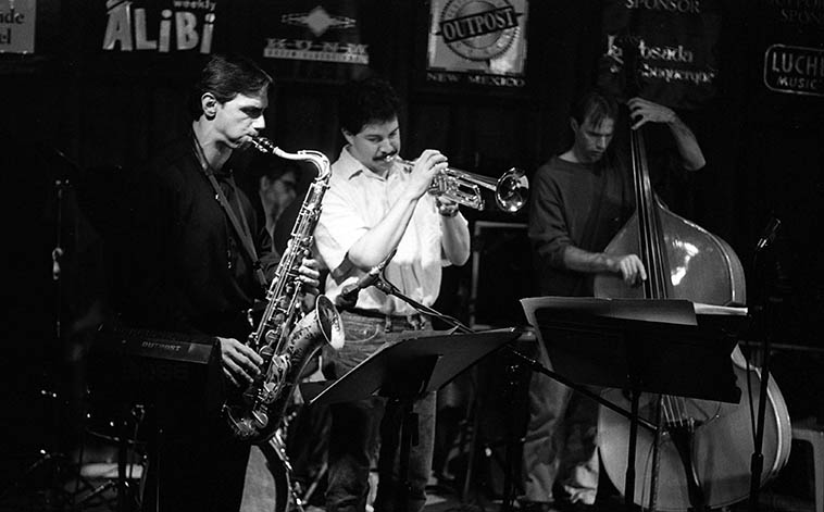 Kanoa Kaluhiwa Quintet -- December 11, 1995 -- photo by Mark Weber -- These guys are still active on the New Mexico scene in all kinds of musical situations