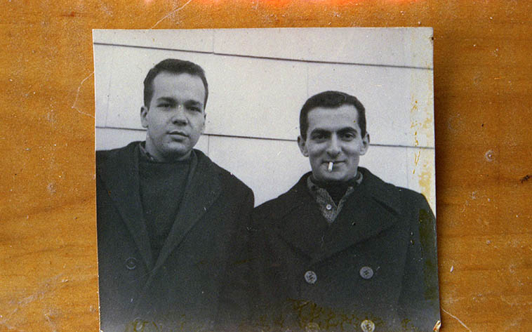 Steve Lacy and Kenny Davern in the late 50s NYC -- photo from the collection of Kenny Davern, copied via re-photo by Mark Weber